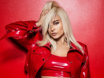 bebe rexha in red clothes
