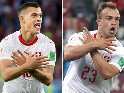 granit xhaka and xherdan shaqiri making albanian eagle hand gesture