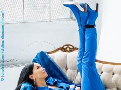 dafina zeqiri showing her shoes