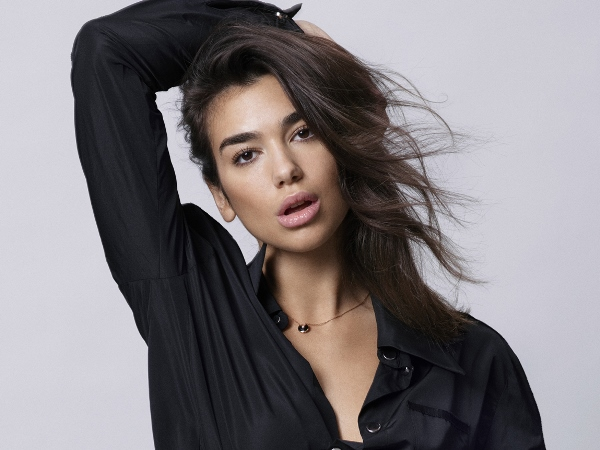 Dua Lipa in black clothes